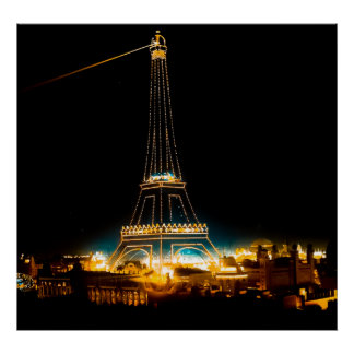 Eiffel Tower illuminated at 1900 Paris Exposition Poster