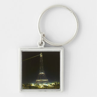 Eiffel Tower illuminated at 1900 Paris Exposition Silver-Colored Square Keychain