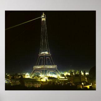 Eiffel Tower Illuminated at Paris Exposition 1900 Poster