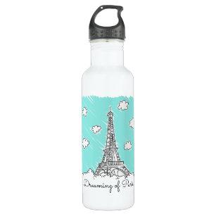 Eiffel Tower Illustration custom name water bottle