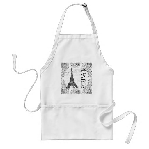 Eiffel Tower in Black and White Adult Apron