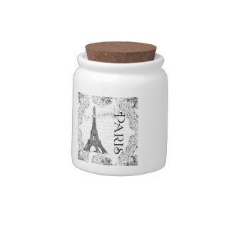 Eiffel Tower in Black and White Candy Jars