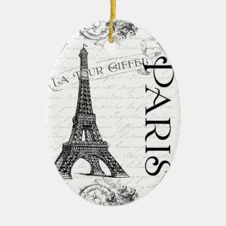 Eiffel Tower in Black and White Ceramic Ornament