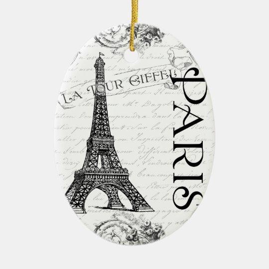 Eiffel Tower in Black and White Ceramic Ornament