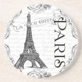 Eiffel Tower in Black and White Drink Coaster