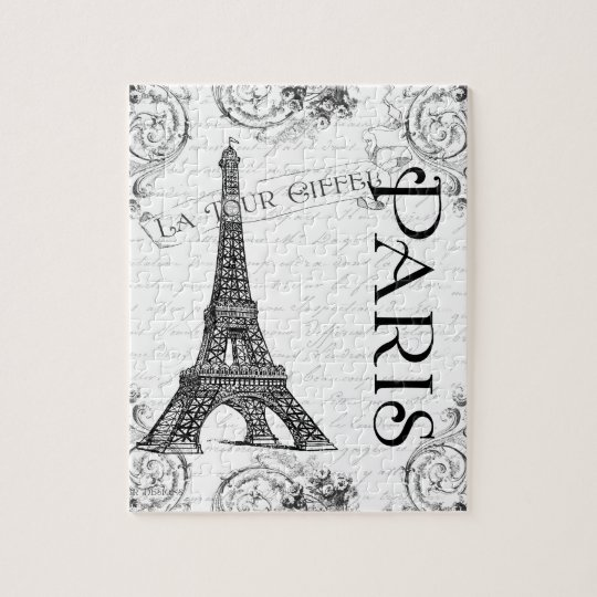 Eiffel Tower in Black and White Jigsaw Puzzle