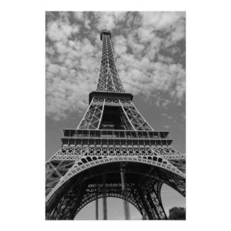 Eiffel Tower in black and white Poster