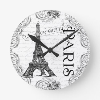 Eiffel Tower in Black and White Round Clock