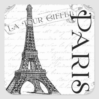 Eiffel Tower in Black and White Square Stickers