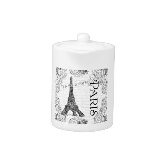 Eiffel Tower in Black and White Teapot