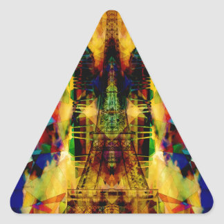Eiffel Tower In Color Triangle Sticker