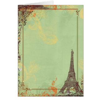 Eiffel Tower in Green Greeting Card
