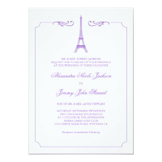 Eiffel Tower in Lavender Elegant Wedding Invitatio 5x7 Paper Invitation Card