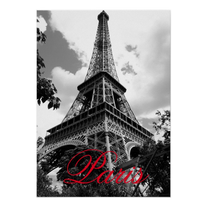 Eiffel Tower In Love City Paris Black White Red Poster Zazzle Com