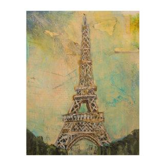 Eiffel Tower in Mixed Media Wood Print