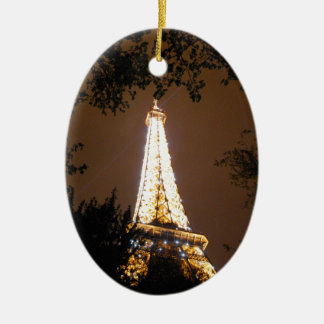 Eiffel Tower in Paris, France at Night Ceramic Ornament