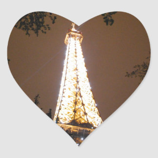 Eiffel Tower in Paris, France at Night Heart Sticker