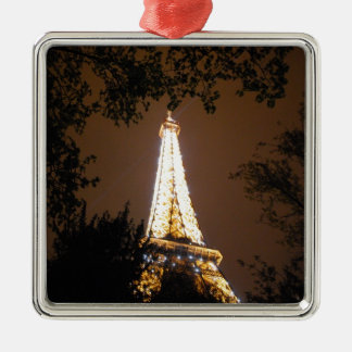 Eiffel Tower in Paris, France at Night Metal Ornament