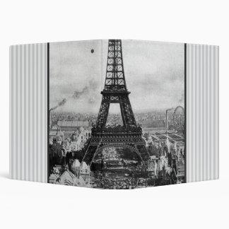 Eiffel Tower In Paris Striped Vintage Binder