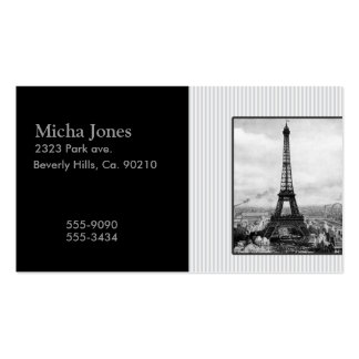 Eiffel Tower In Paris Striped Vintage Double-Sided Standard Business Cards (Pack Of 100)