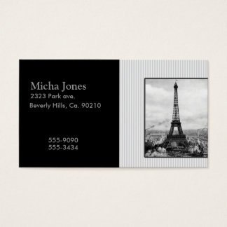 Eiffel Tower In Paris Striped Vintage Business Card