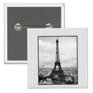 Eiffel Tower In Paris Striped Vintage 2 Inch Square Button