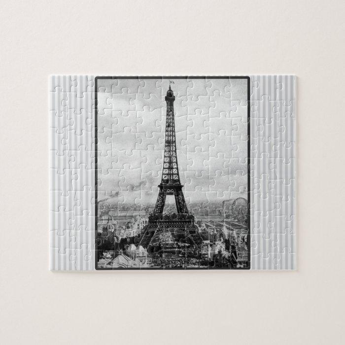 Eiffel Tower In Paris Striped Vintage Jigsaw Puzzle