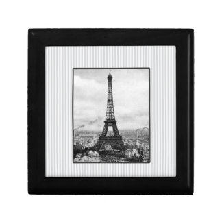 Eiffel Tower In Paris Striped Vintage Keepsake Box