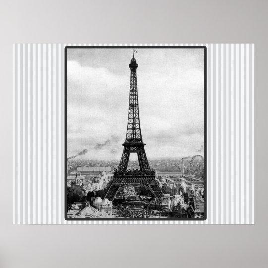 Eiffel Tower In Paris Striped Vintage Poster