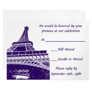 Eiffel Tower in Purple RSVP Cards