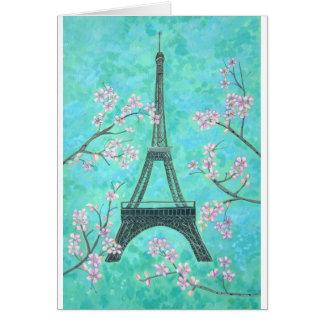 Eiffel Tower in Spring blank card