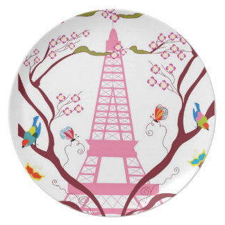Eiffel tower in spring plate