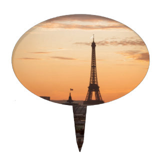 Eiffel Tower in sunset, Paris, France Cake Topper
