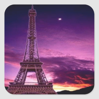 Eiffel Tower in Sunshine Sky Square Stickers