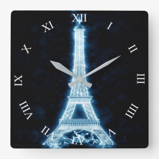 Eiffel Tower in White Neon Glow Square Wall Clock