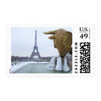 Eiffel tower in winter 2 postage stamp