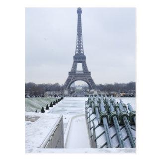 Eiffel tower in winter 3 postcard