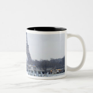 Eiffel tower in winter 3 Two-Tone coffee mug