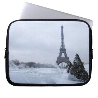 Eiffel tower in winter laptop sleeve