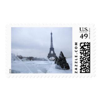 Eiffel tower in winter postage