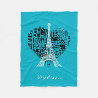 Eiffel Tower & Inscriptions Paris in Heart Fleece Blanket