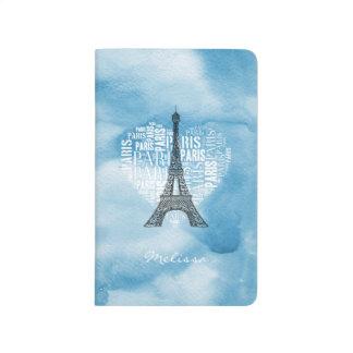 Eiffel Tower & Inscriptions Paris in Heart Journal