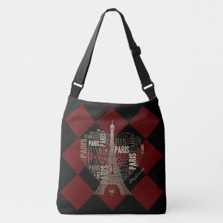 Eiffel Tower | Inscriptions Paris in Heart Tote Bag