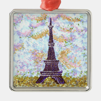 Eiffel Tower inspired pointillism ornament square