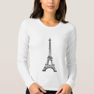 Eiffel Tower, ladies Long Sleeved Fitted T Tee Shirts