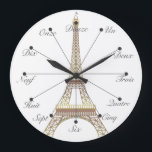 "Eiffel Tower Large Wall Clock<br><div class=""desc"">An easy way to memorize one to twelve in french. After that,  you&#39;re on your own.</div>"