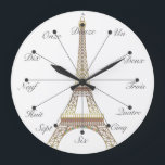 """Eiffel Tower Large Wall Clock<br><div class=""""desc"""">An easy way to memorize one to twelve in french. After that,  you&#39;re on your own.</div>"""