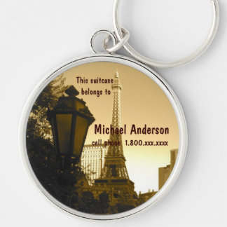 Eiffel Tower Las Vegas I.D. Tag Silver-Colored Round Keychain