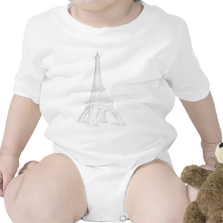Eiffel Tower Line Art Baby Bodysuit