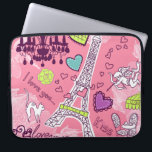 """Eiffel Tower Love Paris France Pink Computer Sleeve<br><div class=""""desc"""">Eiffel Tower Love Travel Paris France Pink Art Design Computer Sleeves Gifts for friends and family.</div>"""
